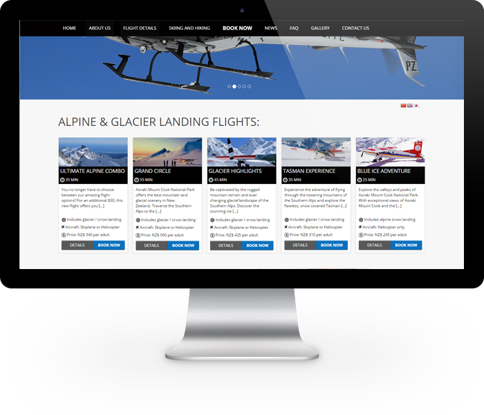 Scenic flight booking system
